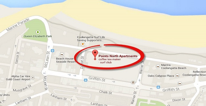 Location Map of Penthouse Apartments at Points North Apartments Coolangatta Gold Coast
