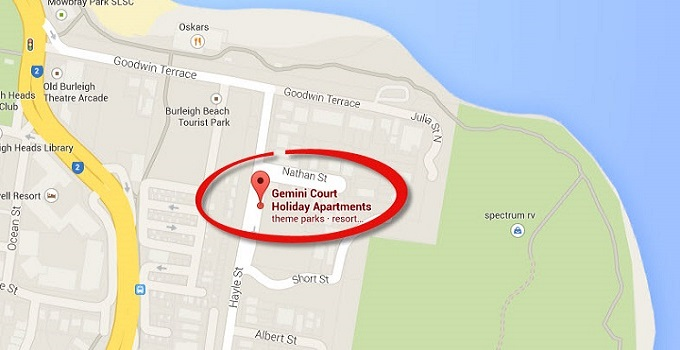Location Map of Penthouse Apartments at Gemini Court Holiday Apartments Gold Coast