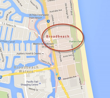 Location Map of Broadbeach Gold Coast