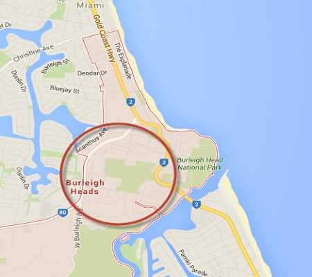 Location Map of Burleigh Heads Gold Coast