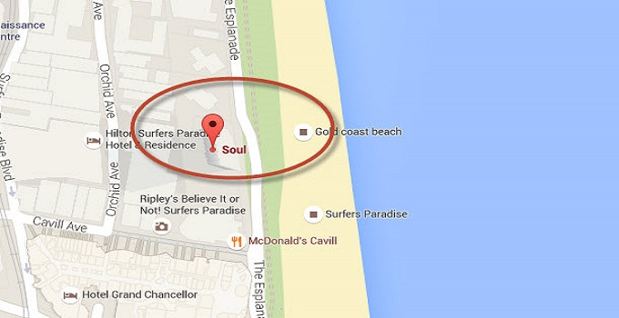 Location Map of Soul Surfers Paradise Gold Coast