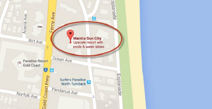 Location Map of Sun City Surfers Paradise Gold Coast