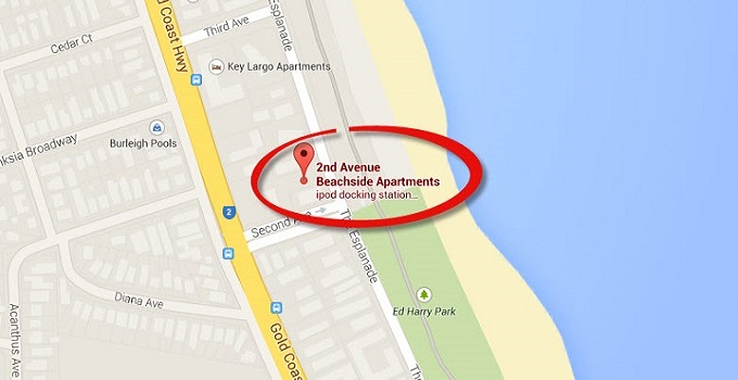 Location Map of Penthouse Apartments at Burleigh Heads Gold Coast