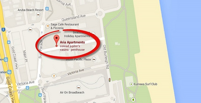 Location Map of Sub Penthouse Apartments at Aria Broadbeach
