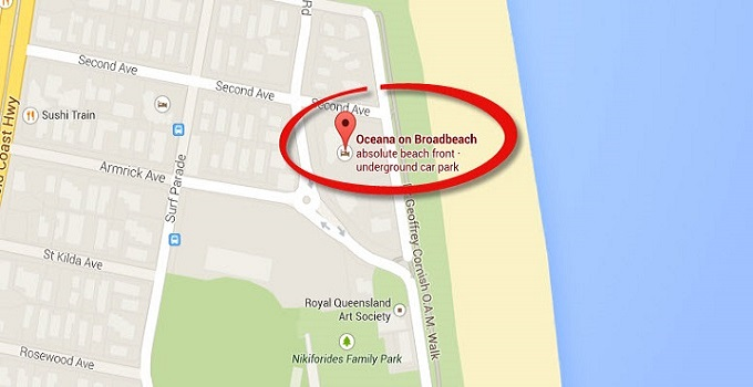 Location Map of Penthouse Apartments at Oceana On Broadbeach Gold Coast
